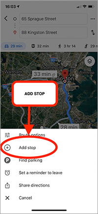 Add Stops Route Planning