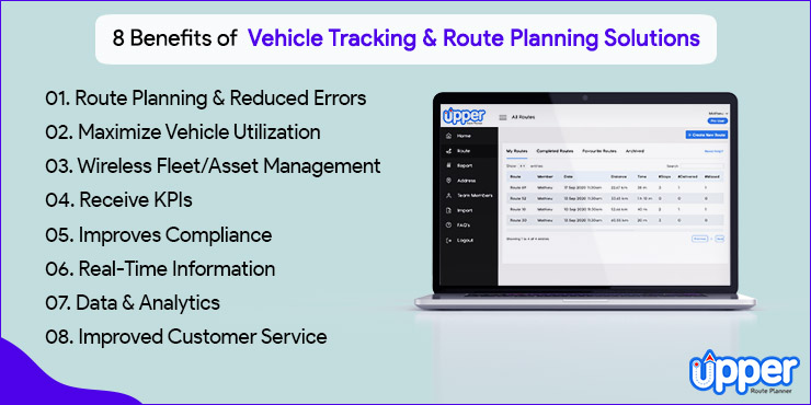 8 Benefits of Vehicle Tracking Route Planning Solutions